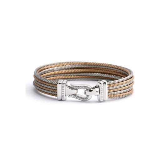 Charriol Women's Brilliant Two-Tone PVD Stainless Steel Cable Bangle Bracelet-Me