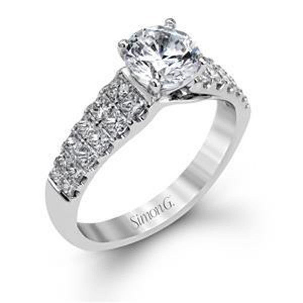 Simon G Side Stone 18k - White Gold Engagement Ring Simon G MR2432