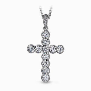 Simon G NP204 18Kt White Gold Diamond Cross Featuring 1.50 Carats Total Weight B
