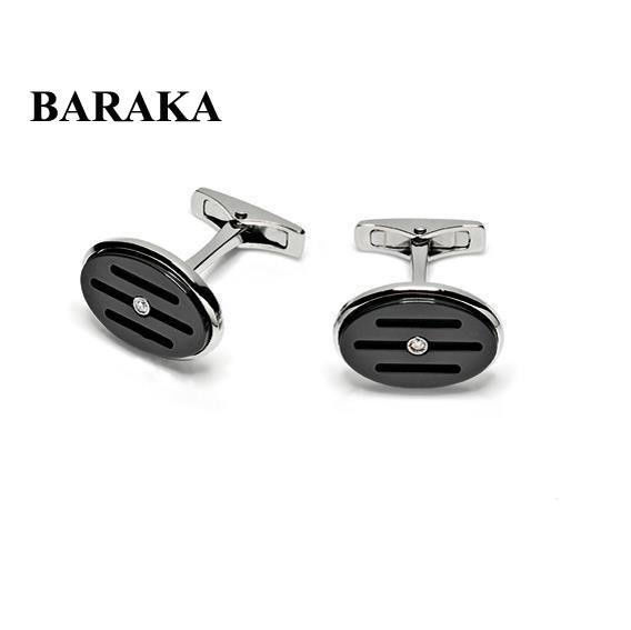 BARAKA PS215500ACCN000004 ST.S/CERAMIC DIAM CUFF LINKS