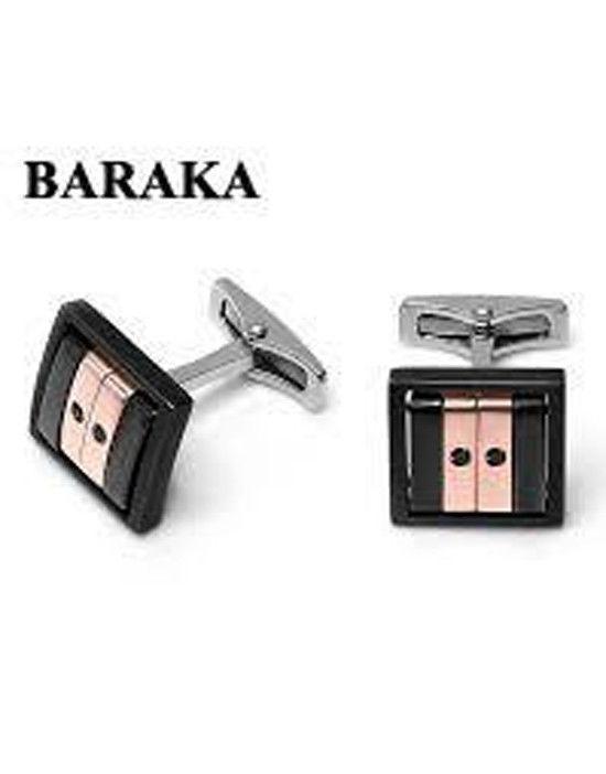 BARAKA PS232031RODN000012 18K/ST.STEEL DIA/CERAMIC CUFF LINKS