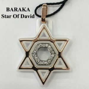 BARAKA 18K ST221521ROCB000018 DIAM WHITE CERAMIC STAR OF DAVID PENDANT