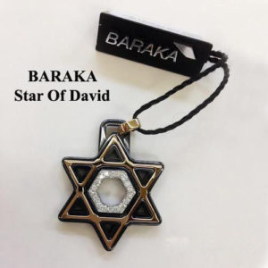 BARAKA 18K ST221521ROCN000018 DIAM BLACK CERAMIC STAR OF DAVID PENDANT
