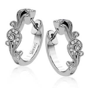 Simon G TE473 Hoop Earrings 18KW