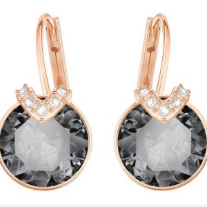 Swarovski 5299317 Bella V Pierced Gray Crystal Rose Gold Plated Earrings