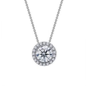 Lafonn ROUND HALO NECKLACE N2005CLP18 18 Inches