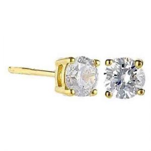 Crislu 300162e00cz Small Gold Plated studs with Clear Cut cubic Zirconia