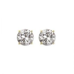 Crislu 300167E00CZ Gold Plated Claw studs with Clear Cut cubic Zirconia