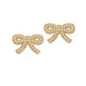 Crislu 3010009E00CZ Micro Pave Ribbons & Pearls Bow Earrings
