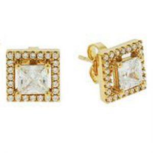 Crislu 3010110E00CZ 18K Gold Plated Sterling Silver Square Stud Earrings