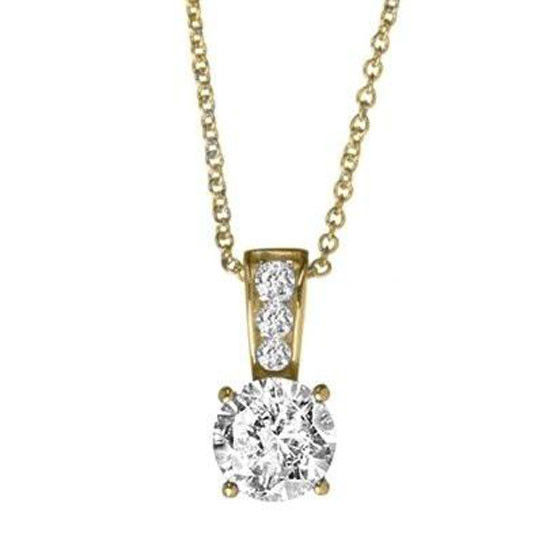 Crislu 305360N16CZ Round Gold Plated Pendant With clear Cubic Zirconia