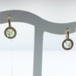 Crislu 309975L00GR Lever Back Sterling Silver Gold Plated Earrings