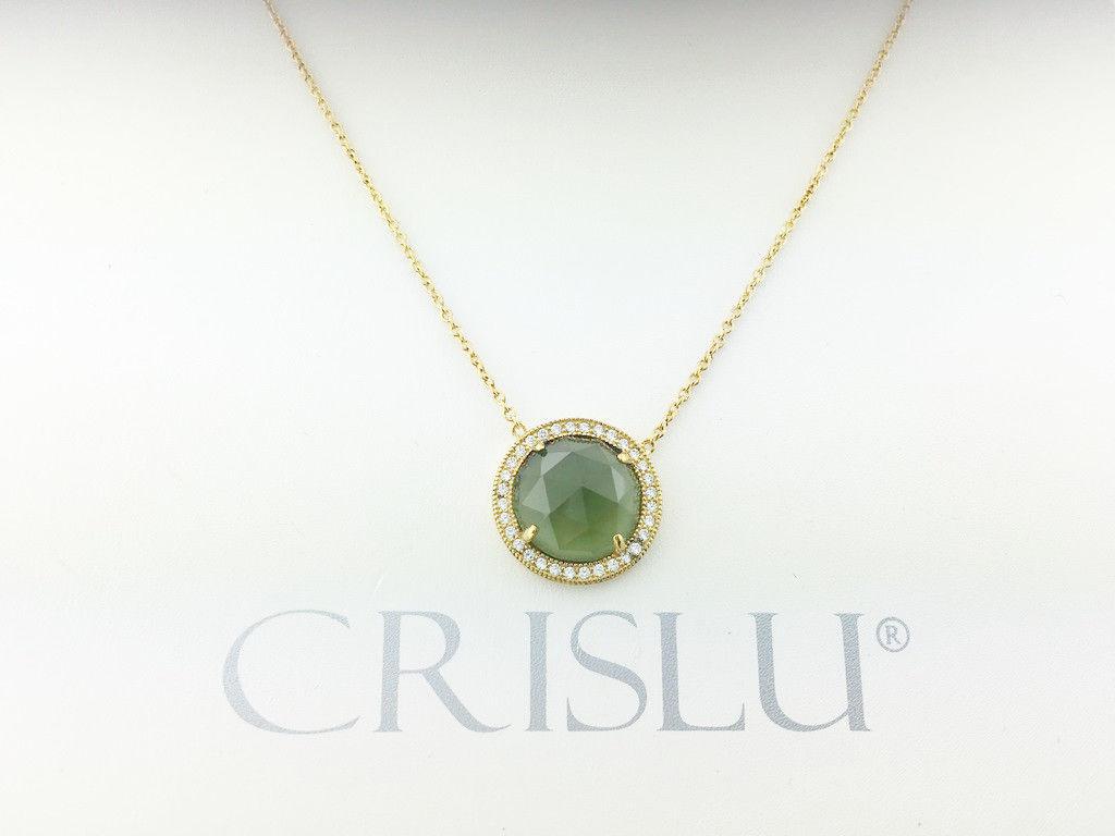 Crislu 309975N16GR Sterling Silver Gold Plated Emerald Crystal Pendant