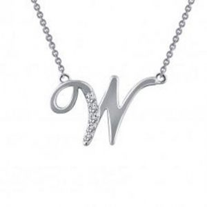 Lafonn 9N059CLP18 Pave Initial W Necklace