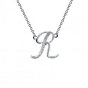 Lafonn 9N074CLP18 Pave Initial R Necklace