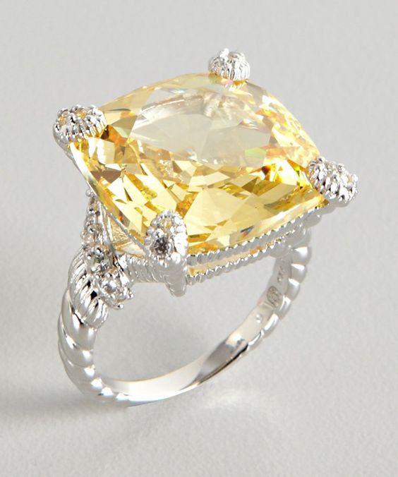 Judith Ripka Canary Crystal Gold Ring