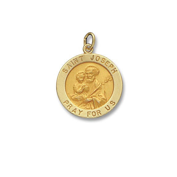 St. Joseph SERIES Round 14 KT. Yellow Solid Religious Medal