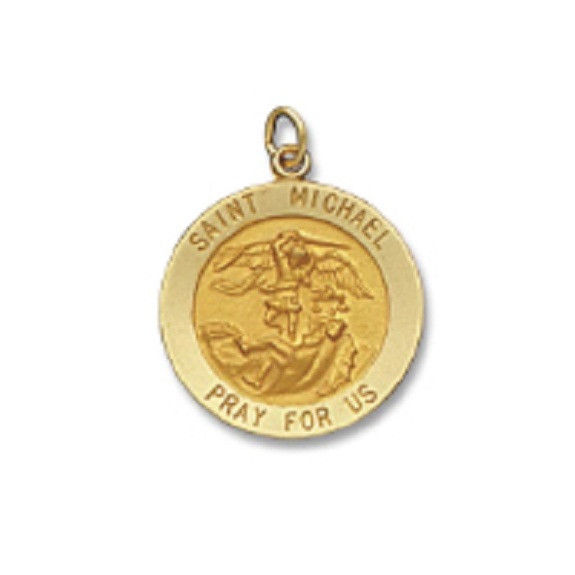 St. Michael SERIES Round 14 KT. Yellow Solid Religious Medal