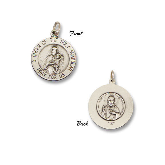 Scapular SERIES Round Silver Antiqued Religious Medal