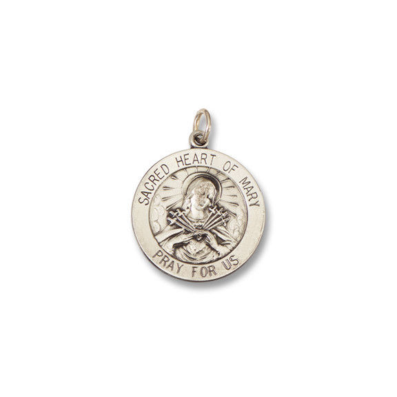 Sacred Heart of Mary SERIES Round Silver Antiqued Religious Medal