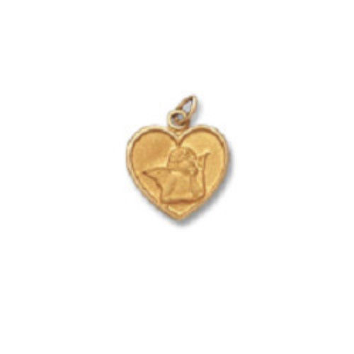 14 KT SOLID Guardian Angel Heart Religious Medal H45