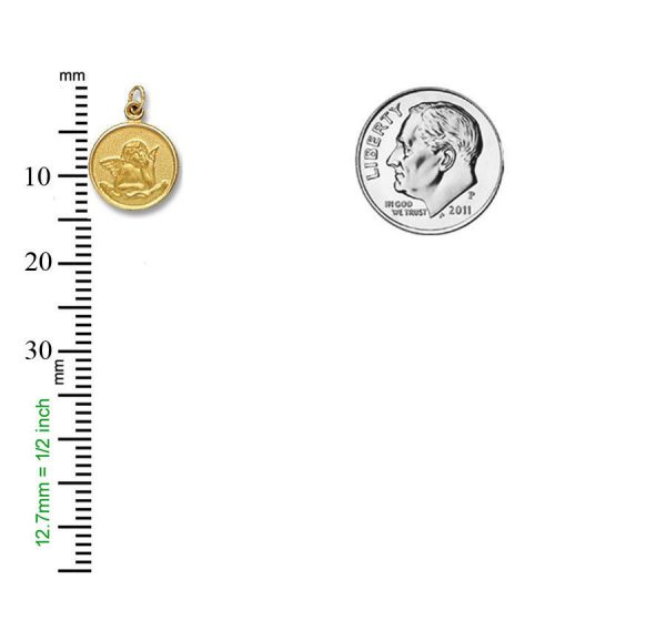 14 Kt. Gold Round Angel Charm Religious Medal H46