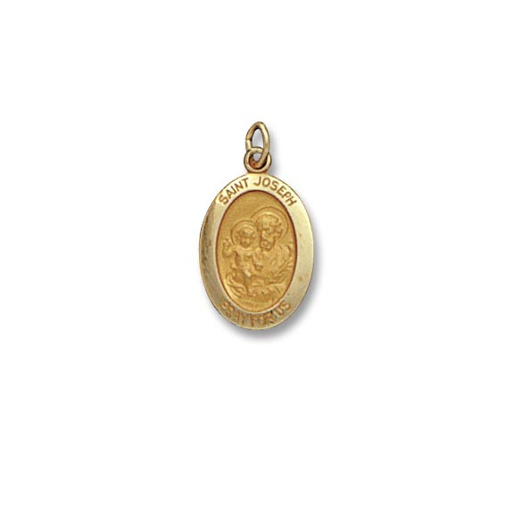St. Joseph SERIES Oval 14 KT. Yellow Solid Religious Medal