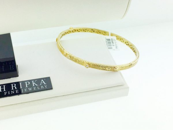 Judith Ripka 14Kt Gold and Diamond Bangle Bracelet