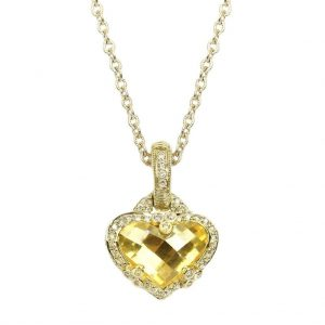 Judith Ripka Heart Shaped Canary Crystal and Diamond Necklace RCN596Y-DI-17