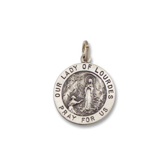 Our Lady of Lourdes  SERIES  Round  Silver Antiqued  Religious Medal s139