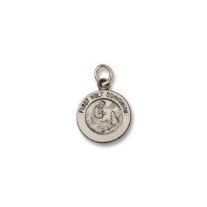 First Holy Communion SERIES Round Silver Antiqued Religious Medal S328