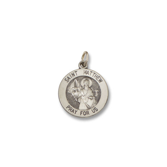 St. Matthew SERIES Round Silver Antiqued Religious Medal S406