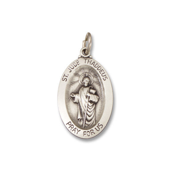 St. Jude Thaddeus SERIES Oval Silver Antiqued Religious Medal s745