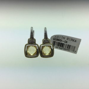 Judith Ripka Canary Crystal Cushion Stone Earrings SE286DI-CA