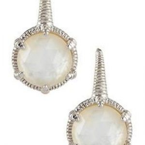 Judith Ripka Eclipse Round Mother of Pearl Earrings SE426-MOPDWS