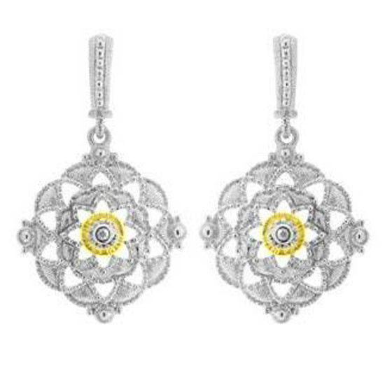 Judith Ripka Sterling Silver & 18KT Gold Dangling Earrings