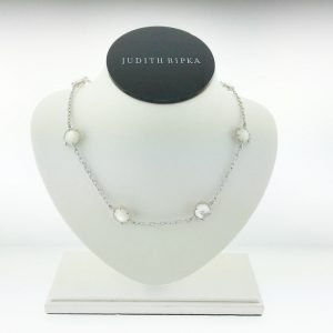 Judith Ripka Silver Eclipse Mother of Pearl Necklace SN436-MOPD-17