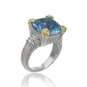 Judith Ripka Blue Quartz & Diamond Heart Ring