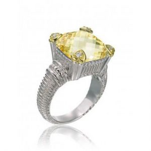 Judith Ripka Canary Crystal & Diamond Heart Ring SR153D-CA Size 7
