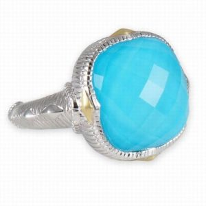 Judith Ripka Contempo Cushion Turquoise Sterling Silver Ring SR289-TQD-7