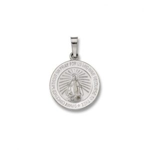 14 Kt. Round White Solid Gold Miraculous Religious Medal WM23