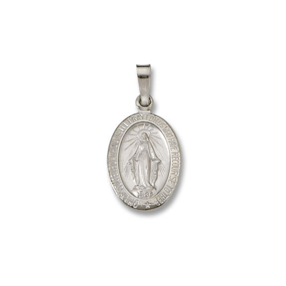14 Kt. Oval White Solid Religious Medal WM32