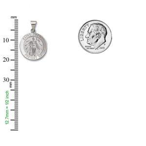 St. Florian SERIES Round  14 KT. White Hollow 3/4 Inch Religious Medal