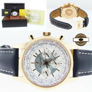 Breitling Transocean Men's 18kt Rose Gold Chronograph Blue Leather Strap Watch