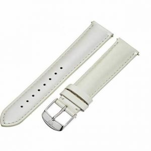 MICHELE MS18AA050040 18mm Patent Leather Silver Watch Strap