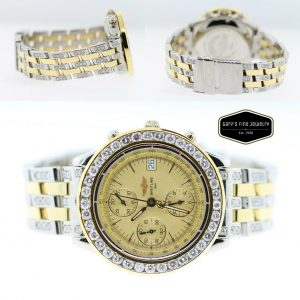 Breitling Chronomat Evolution Two-Tone and 7ct Diamond Bezel & Band Men's Watch