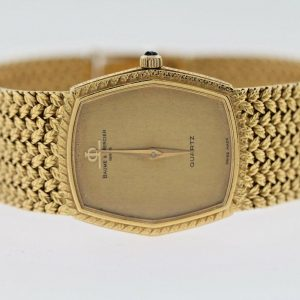 Baume & Mercier 18K Solid Yellow Gold 79.4 Grams Unisex Watch w/ Mesh Bracelet