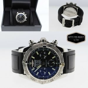 Breitling Blackbird Automatic A44359 SS 44mm w/ Black Rubber Adjustable Band