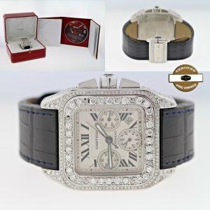 Cartier Santos 100 XL 2740 Chronograph Automatic Watch with Diamond Dial & Case