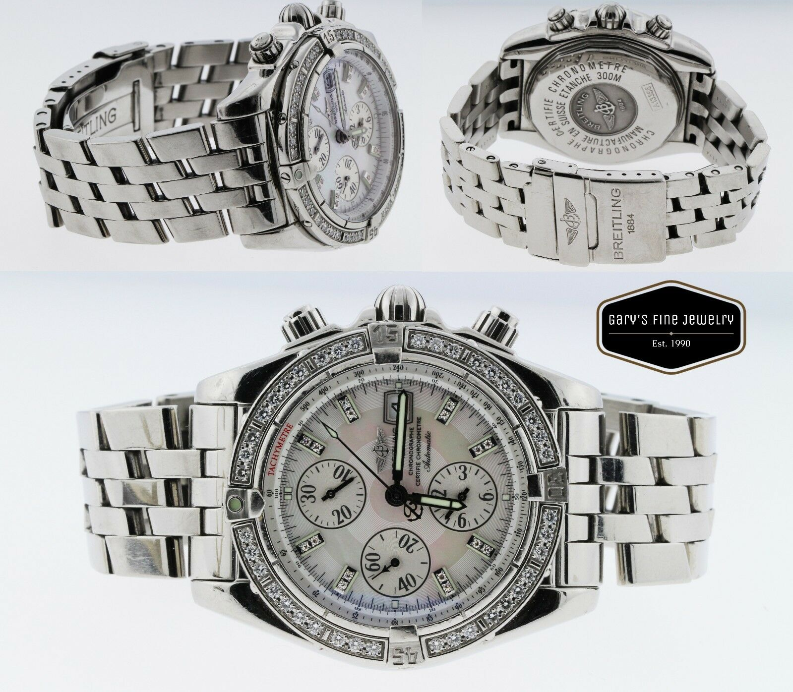 Breitling Evolution Chronomat A13356 43MM White Dial Men's Factory Diamond Watch